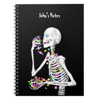 Skeleton Eating Halloween Candy Spiral Notebook