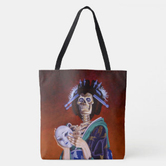 Skeleton Geisha with Mask Tote Bag