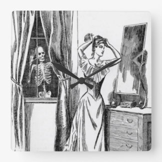 Skeleton Ghoul Monster Victorian Woman Wallclocks