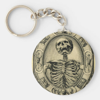 Skeleton, Goth, Medieval Basic Round Button Keychain