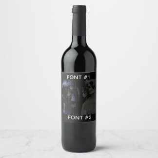 Skeleton Halloween House Wine Bottle Wine Label