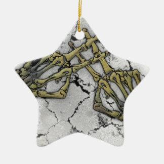Skeleton Hand Horror Hashtag Ceramic Star Ornament