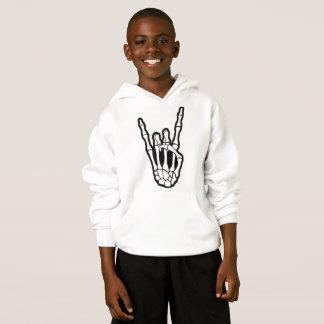 Skeleton Hand Rock On Kids Hoodie