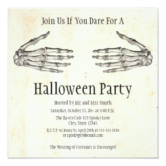 Skeleton Hands Halloween Invitation
