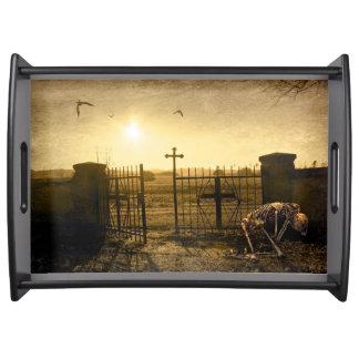 Skeleton in cemetery serving tray