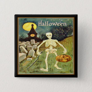 Skeleton in Graveyard Vintage Halloween Button