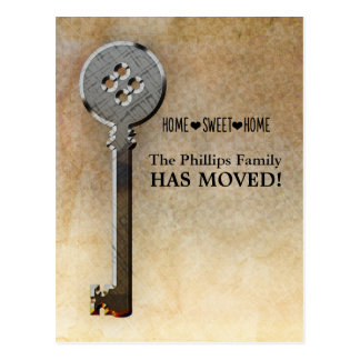 Skeleton Key-We Have Moved New Home Announcement Postcard