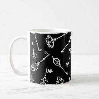 Skeleton Keys Black and White Coffee Mug