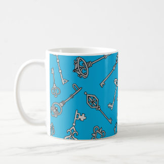 Skeleton Keys Blue Coffee Mug