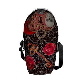 Skeleton Lock and Key Burgundy Messenger Bag