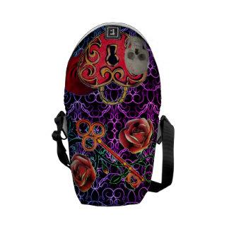 Skeleton Lock and Key Purple Messenger Bag