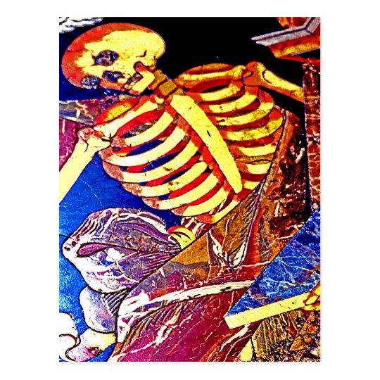 Skeleton on Floor Grave, Malta Postcard