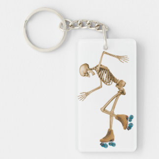 Skeleton on Roller Skates Double-Sided Rectangular Acrylic Keychain