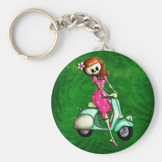 Skeleton Pin Up Girl on Scooter Keychain
