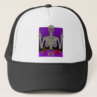 Skeleton Poker Flip Trucker Hat