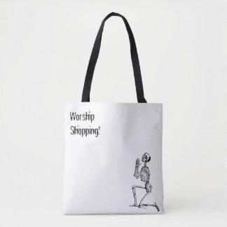 Skeleton Praying Shopping Worship Tote Bag