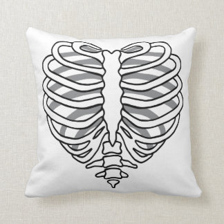 Skeleton rib cage heart throw pillow