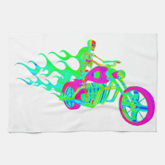 Skeleton Riding a Motorcycle Kitchen Towel