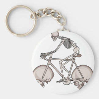 Skeleton Riding Bike With Skull Wheels Basic Round Button Keychain