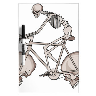 Skeleton Riding Bike With Skull Wheels Dry-Erase Boards