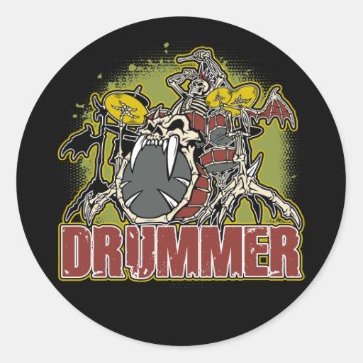Skeleton Rock Drummer Round Sticker
