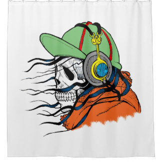 Skeleton Rocking wearing headphones