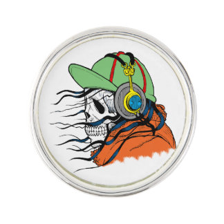 Skeleton Rocking wearing headphones Lapel Pin