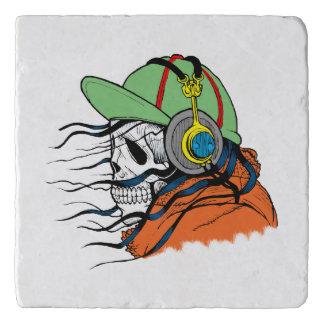 Skeleton Rocking wearing headphones Trivet