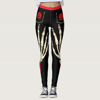 Skeleton Rose Black Skinny Jeans Leggings