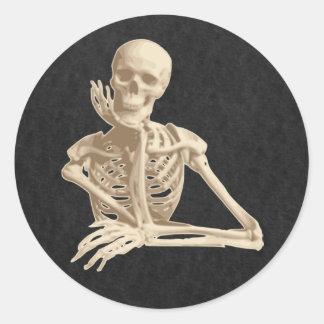 skeleton round sticker
