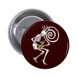 Skeleton Saxophone 2 Inch Round Button