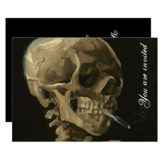 Skeleton Skull with Burning Cigarette by Van Gogh Card