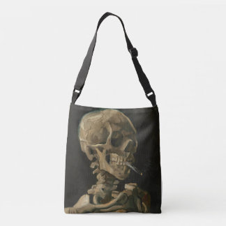 Skeleton Skull with Burning Cigarette by Van gogh Crossbody Bag