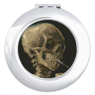 Skeleton Skull with Burning Cigarette by Van Gogh Travel Mirrors