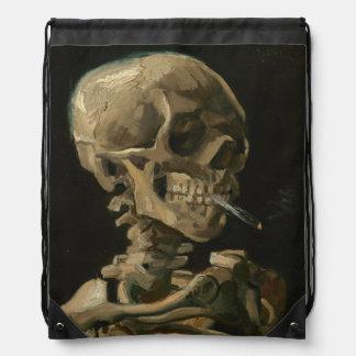 Skeleton Skull with Burning Cigarette Van Gogh Drawstring Bag