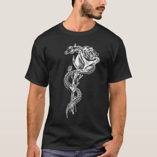 Skeleton Snake and Rose Print T-Shirt