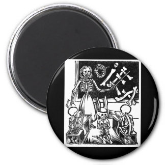 "Skeleton Teacher and Students ""Day of the Dead"" 2 Inch Round Magnet"