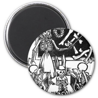 """Skeleton Teacher and Students """"Day of the Dead"""" Refrigerator Magnets"""