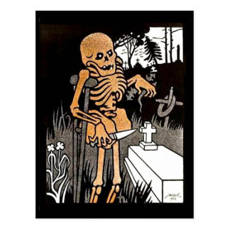 Skeleton Tending the Grave postcard