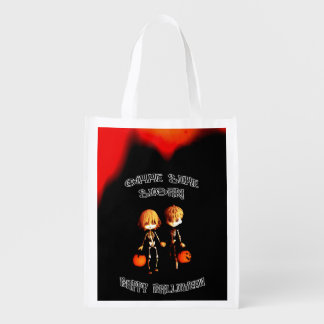 Skeleton Twinz Trick or Treat Reusable Grocery Bag