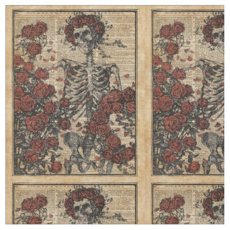 Skeleton Vintage Art With Roses,Dictionary Art Fabric