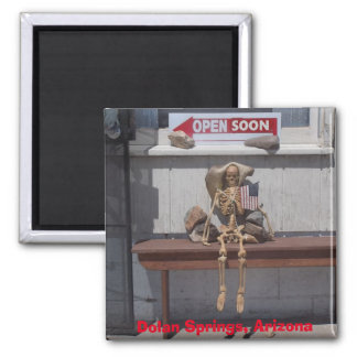 Skeleton Waiting for the Store to Open Square Magnet