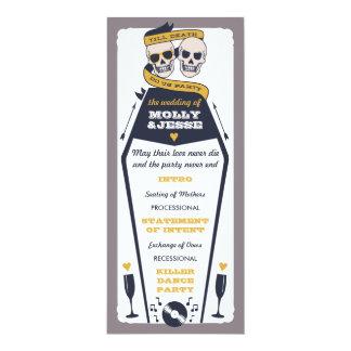 Skeleton Wedding Program - Navy and Mustard