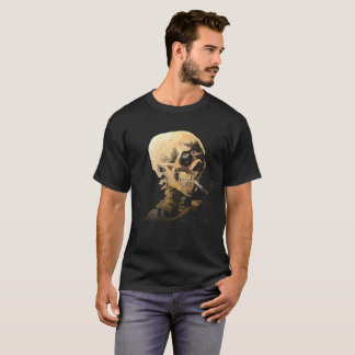 Skeleton with Burning Cigarette - Van Gogh T-Shirt
