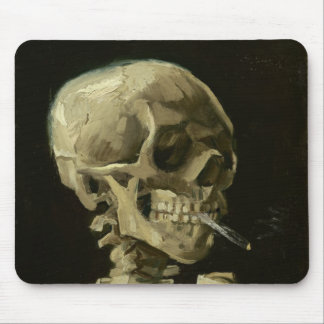 Skeleton with cigarette by Van Gogh Mousepads