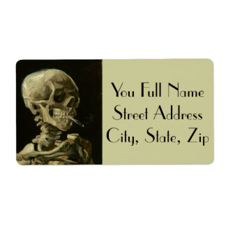 Skeleton with cigarette by Van Gogh Shipping Label