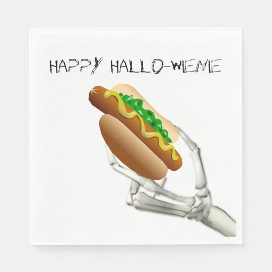 Skeleton with Hot Dog Halloween Paper Napkins