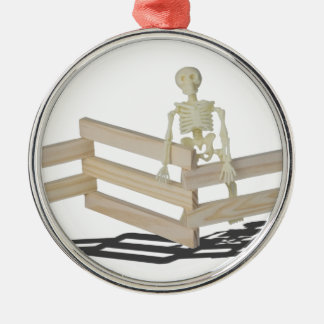 SkeletonAtFence062115 Silver-Colored Round Ornament