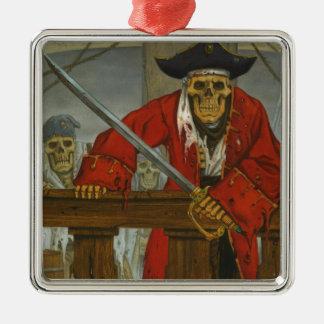 SkeletonCrew.JPG Silver-Colored Square Ornament