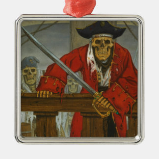 SkeletonCrew.JPG Silver-Colored Square Ornament